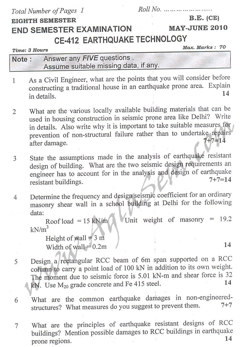 DTU Question Papers 2010 – 8 Semester - End Sem - CE-412