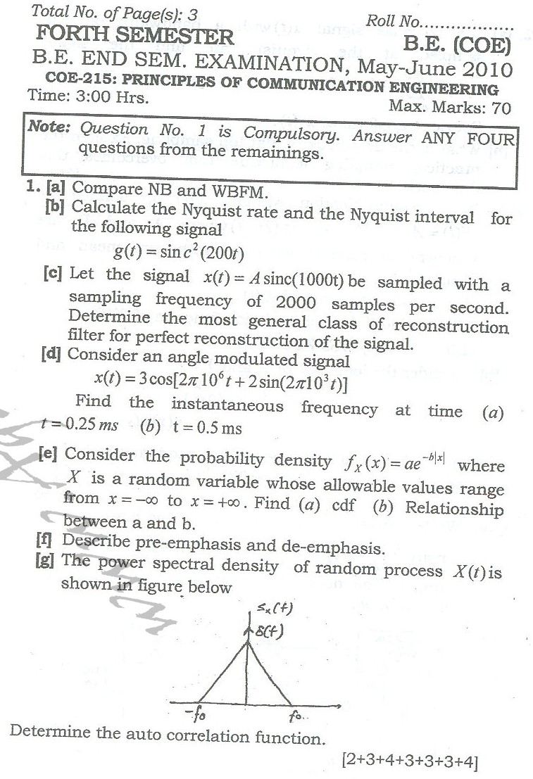 DTU Question Papers 2010 – 4 Semester - End  Sem - COE-215