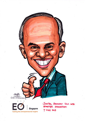 Minister Shanmugam caricature for EO Singapore