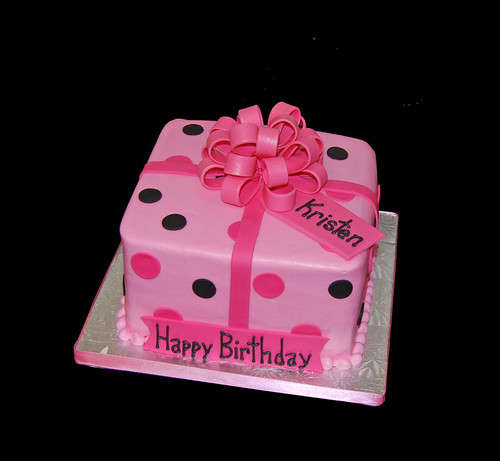 Present cake with black and pink polka dots