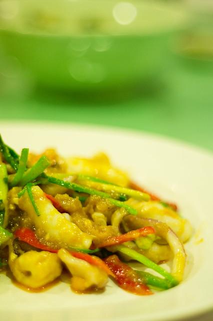 ปลาหมึกผัดไข่เค็ม จั๊วหลี Juo-Lee