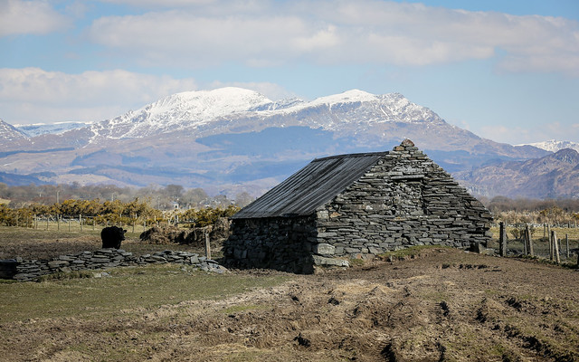 Barn And The Rhinogs In Snow