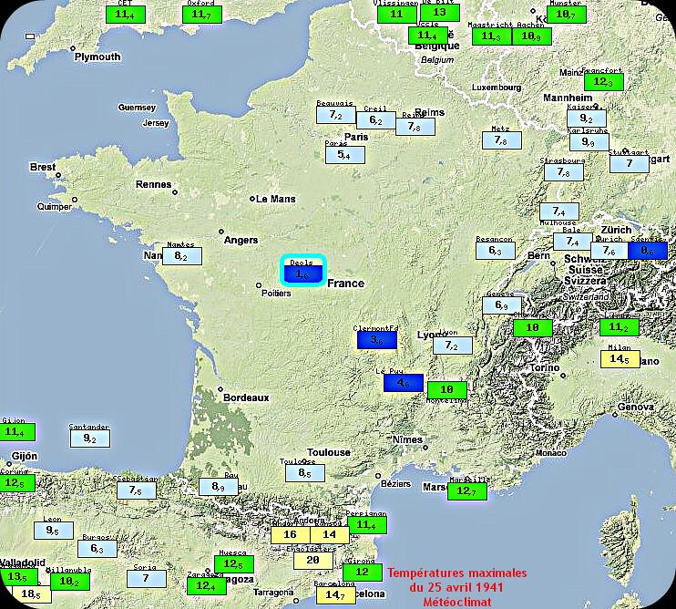 températures maximales et grande fraîcheur du 25 avril 1941 météopassion