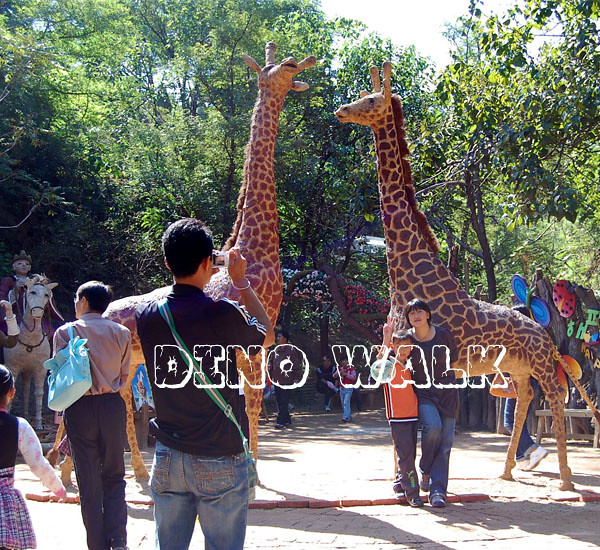 Lifelike Animatronic Giraffe in the outdoor playground