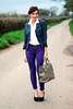 Purple skinnies & stripe blazer