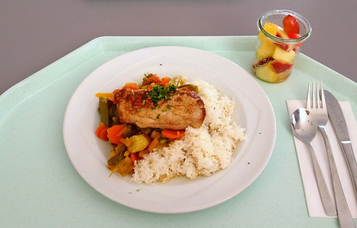 Schweinefiletstück mit knackigem Wokgemüse / Pork filet with wok vegetables
