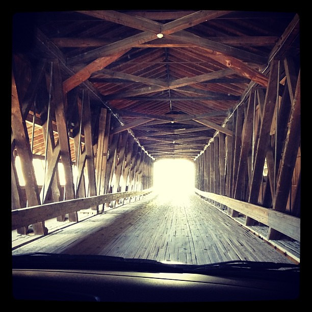 Checking out a covered bridge on our way home. #genevaonthelake #happyincle #ohio #coveredbridge