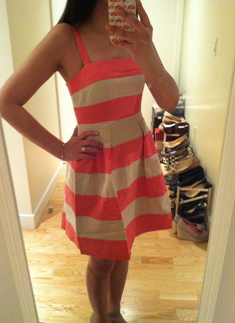 LOFT Striped Pleated Skirt Dress, sz 00P