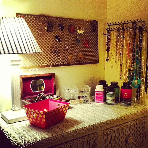 Writing a blog post now on my new vanity area/ new earring holder :) thejuliedaniel.com check back in an hour :)