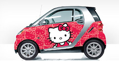 custom smart car red hello kitty