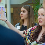 jwprc-09 -- Rachel Ende '16 (left) and Rachel Aron '16 talk about their group research project.