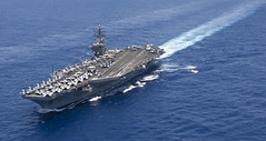 In this file photo, USS Nimitz (CVN 68) transits the Pacific Ocean in April. (U.S. Navy photo by Mass Communication Specialist 1st Class Michael D. Cole)