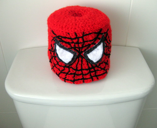 Crocheted Spiderman Toilet Roll Cover