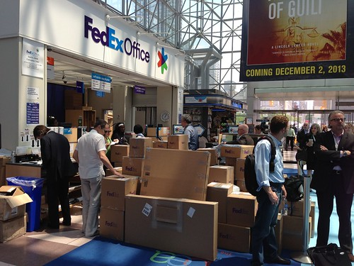Boxes of books waiting to be shipped, BEA 2013