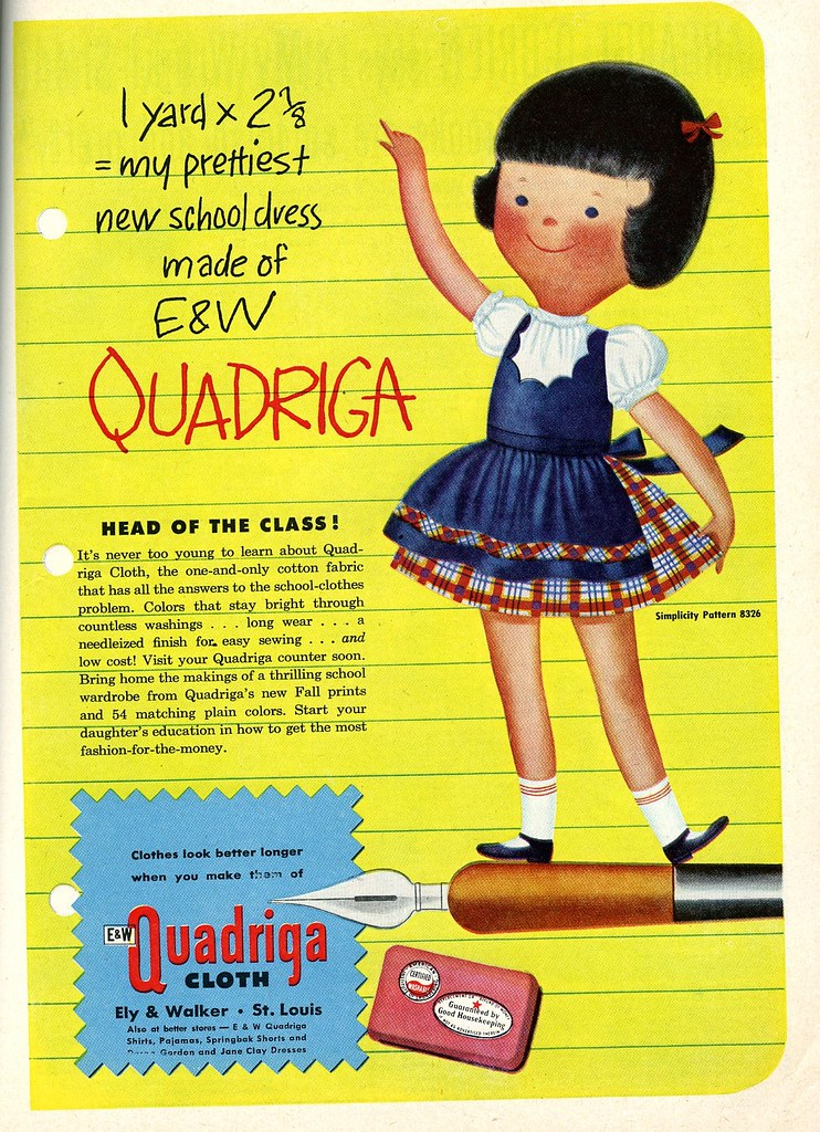 1951 ad for Quadriga cloth