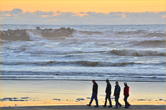 Ocean Shores, North Jetty, beach walkers, Washington State