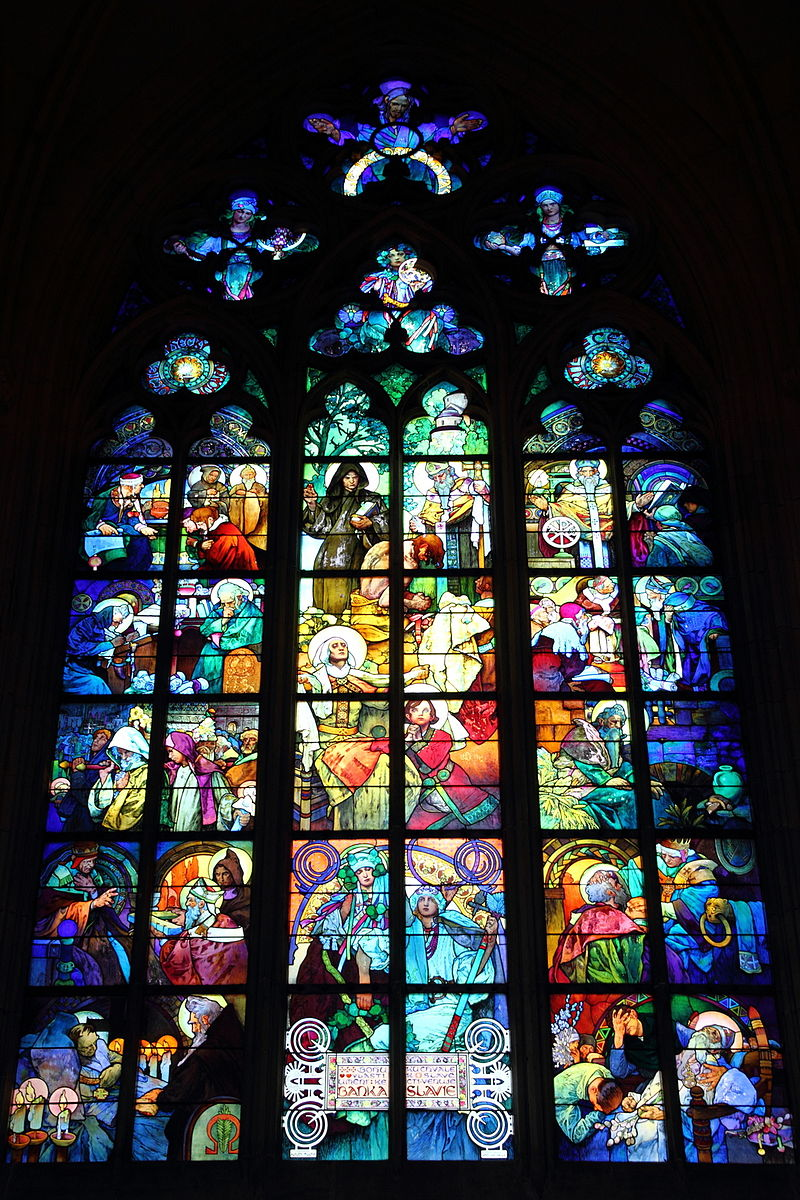 Mucha's stained glass window in St. Vitus Cathedral inside Prague Castle