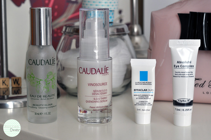 current face skin care routine toner serum moisturiser eye cream caudalie beauty elixir vinosource effaclar duo alpha h absolute eye complex rottenotter rotten otter blog
