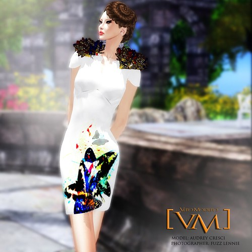 [VM] VERO MODERO _ Derin V Neck Dress Butterfly