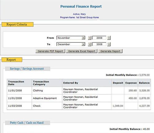 Screenshot of Personal Finance Report