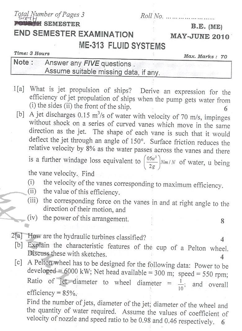 DTU Question Papers 2010 – 6 Semester - End Sem - ME-313