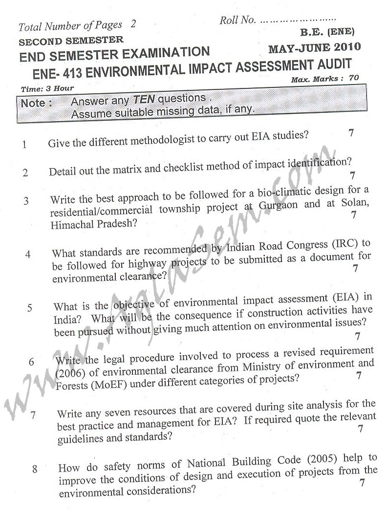 DTU Question Papers 2010 – 8 Semester - End Sem - ENE-413