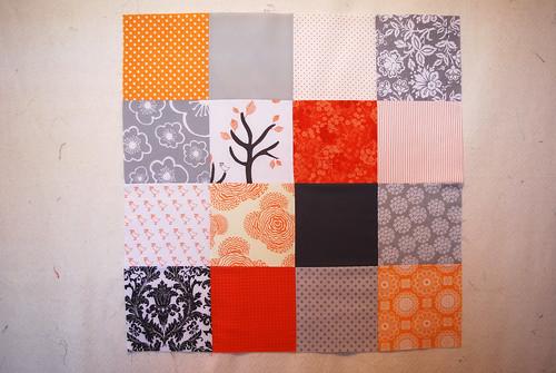 Orange and Grey Quilt Beginning