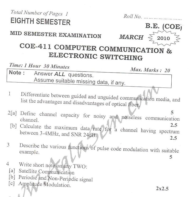 DTU Question Papers 2010 – 8 Semester - Mid Sem - COE-411