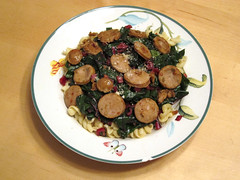 Sauteed Swiss Chard over pasta