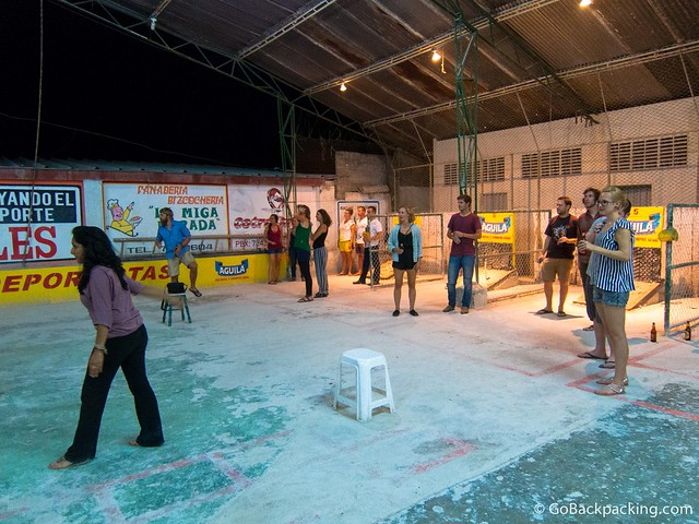 Hostel guests were split up into four teams, with two games going on simultaneously