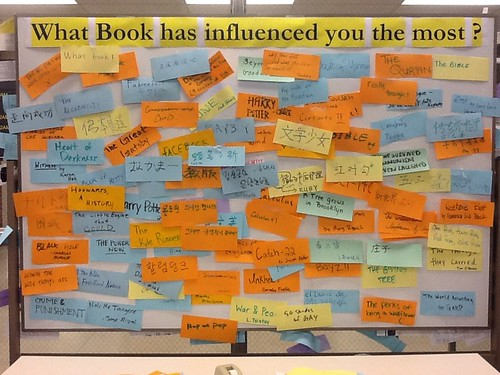 A bulletin board was entirely covered front and back with students' favorite books.