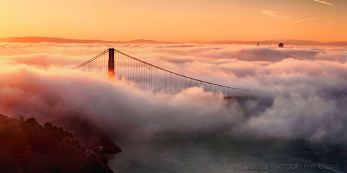 morning bridge sun fog sunrise golden gate san francisco peace