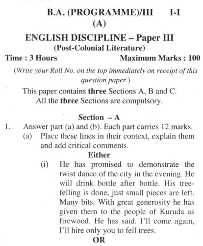 DU SOL B.A. Programme Question Paper -  English Discipline -  Paper XI/XII