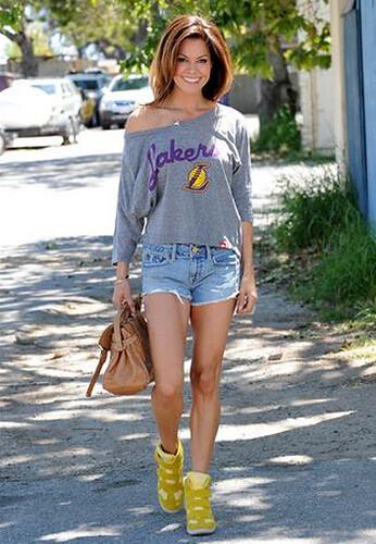 Brooke Burke in Sportiqe LA Lakers Top