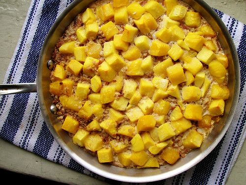 baked oatmeal with mango and coconut