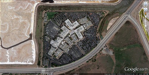 "Facebook's ""campus"" near Menlo Park (via Google Earth)"