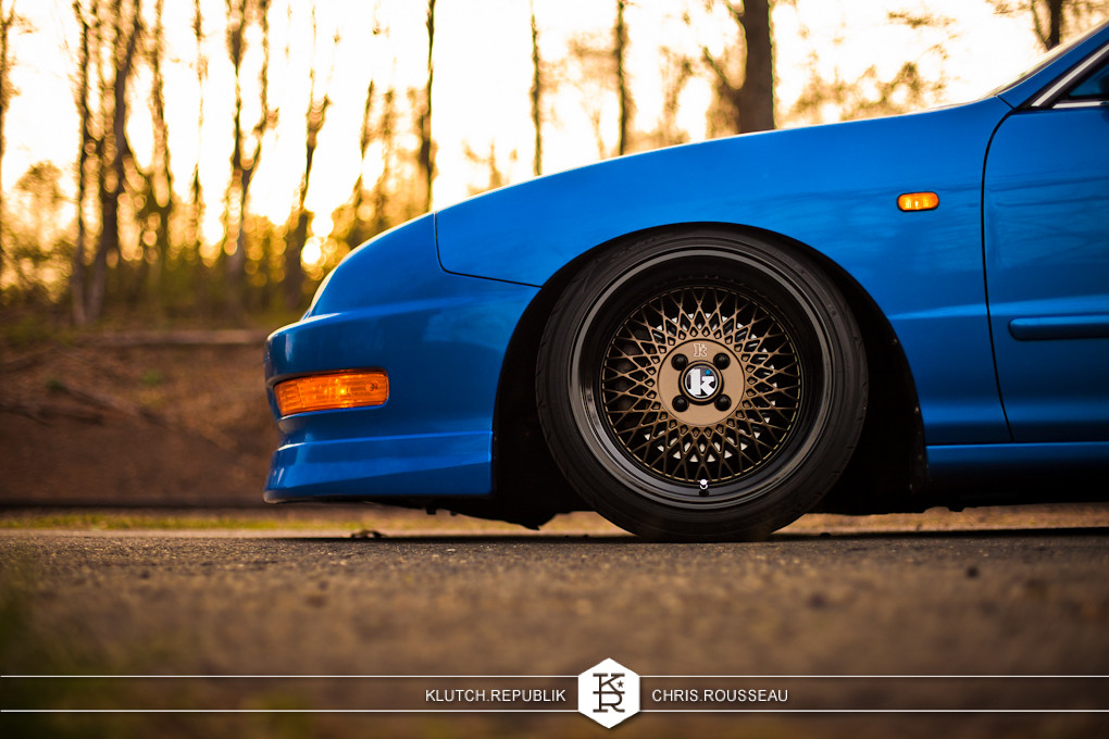 dc2 acura integra blue 4 door klutch wheels sl1 16x9 195/40 slammed dropped dumped bagged static coilovers hella flush stanced stance fitment low lowered lowest camber wheels tucked 16s 17s 18s 19s 20s 3piece 1 piece custom airbags scene scenester