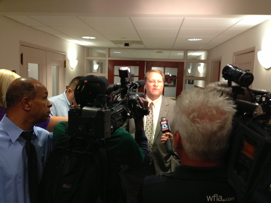 #KillTheLens funding vote at #StPete City Hall: Mayor Foster being interviewed after