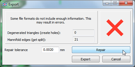 14 - Netfabb Studio Basic - export with repair