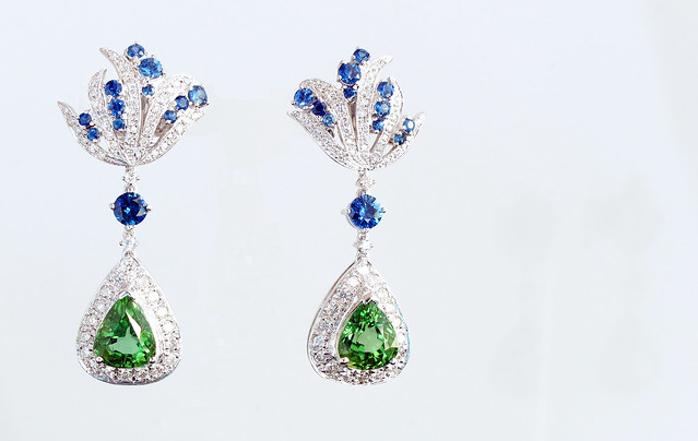 kristine dee earrings chrome tourmaline, blue shappires and diamonds