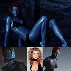 #wcw #supervillain #rebeccaromijn #mystique .... I know I've been slacking , I have horror movies, costume stores, aquatic paintings to do, and Halloween party on Pandora to listen to, but we're back... back again ... and here's some blue boobs for your b