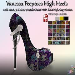 Vanessa Peeptoes High Heels Floral Sugar Skulls