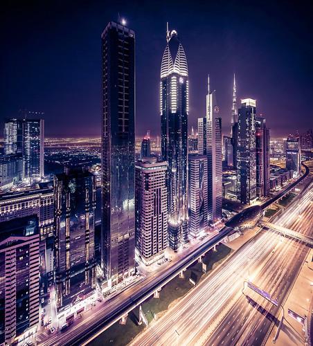 sheikh zayed road  night view