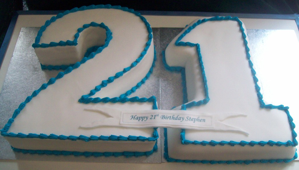 21st Birthday Cake Boy Man Male Numerals
