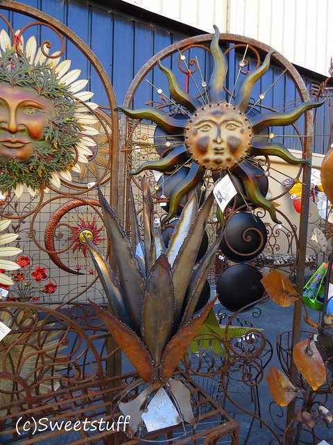 Vendor offering beautiful garden art like this metal Agave