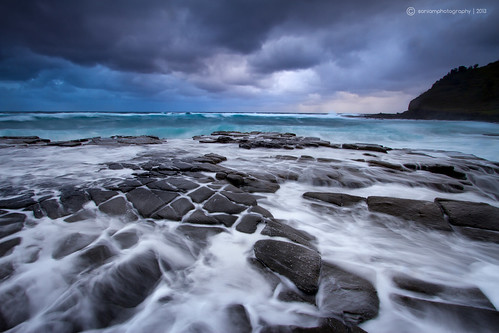 ocean blue sea seascape storm beach rain clouds sunrise nationalpark overcast australia nsw garie