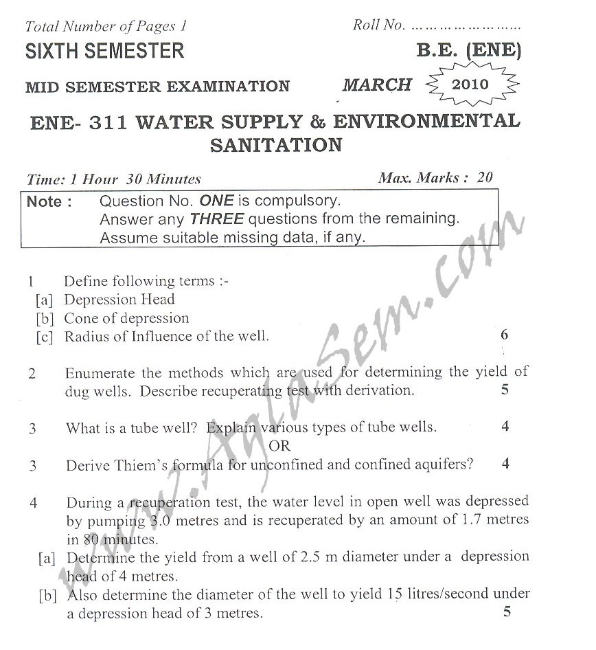 DTU Question Papers 2010 – 6 Semester - Mid Sem - ENE-311