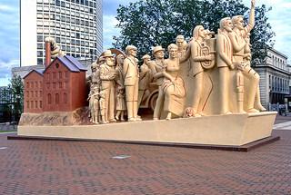 Birmingham. 'Forward' statue by Raymond Mason. Centenary Square. 12 July 1991