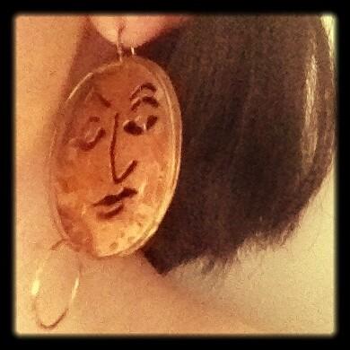 Mexican asymmetrical face earrings