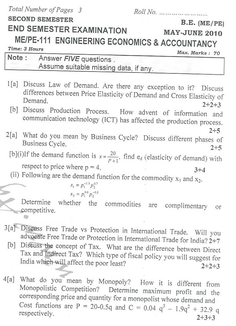 DTU Question Papers 2010 – 2 Semester - End Sem - ME-PE-111